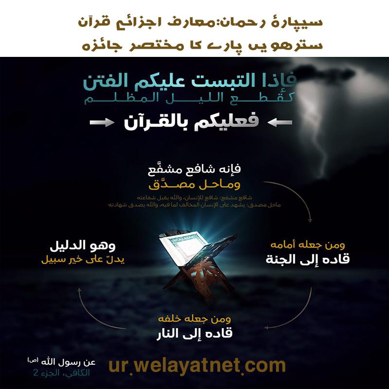 سیپارۂ رحمان:معارف اجزائے قرآن: سترھویں پارے کا مختصر جائزہ