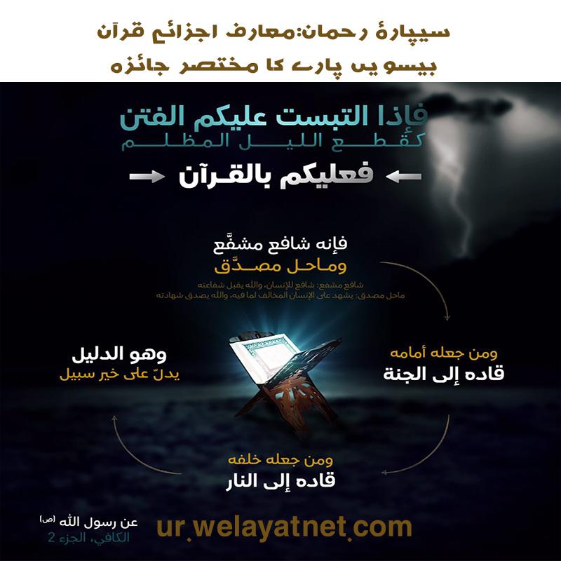 سیپارۂ رحمان:معارف اجزائے قرآن: بیسویں پارے کا مختصر جائزہ