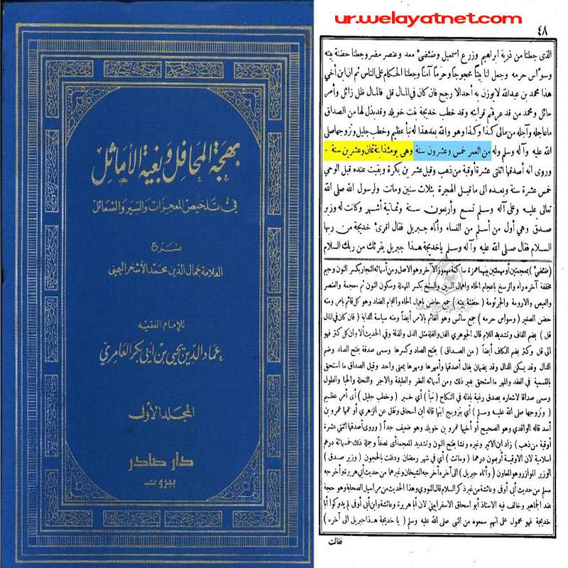 حضرت امالمومنین خدیجه (علیها السلام الله)کی شادی کے موقع پر انکی عمر کا ۲۵ سال ہونے کا اثبات