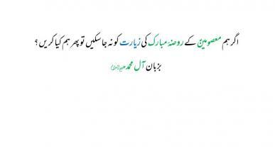 اگر ہم معصومینؑ کے روضۂ مبارک کی زیارت کو نہ جا سکیں تو پھر ہم کیا کریں ؟ بزبان آل محمدعلیہم السلام