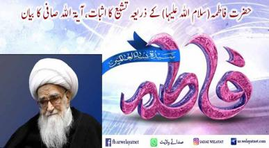 حضرت فاطمہ(سلام اللہ علیہا) کے ذریعہ تشیع کا اثبات، آیۃ اللہ صافی کا بیان